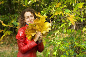 Young woman with maple leaves in hands near tree in wood in autu — Stock Photo