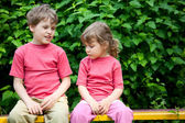 The boy and the girl in park — Foto Stock