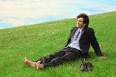 Businessman on grass — Stock Photo