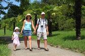 Family walk on road in Sochi arboretum — Stock Photo