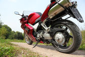 Motorcycle on country road, bottom view — Stock Photo