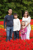 Family of four persons in flowering park — Stok fotoğraf