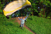 Boy starts to fly — Stock Photo