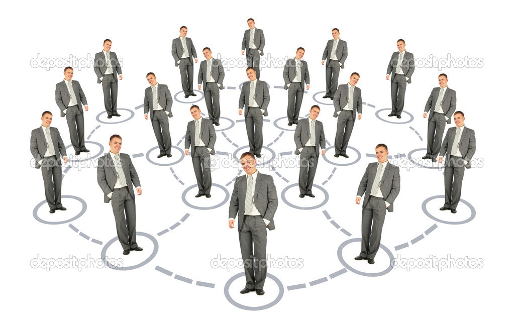 Businessman cooperation system scheme collage — Foto Stock #7426309