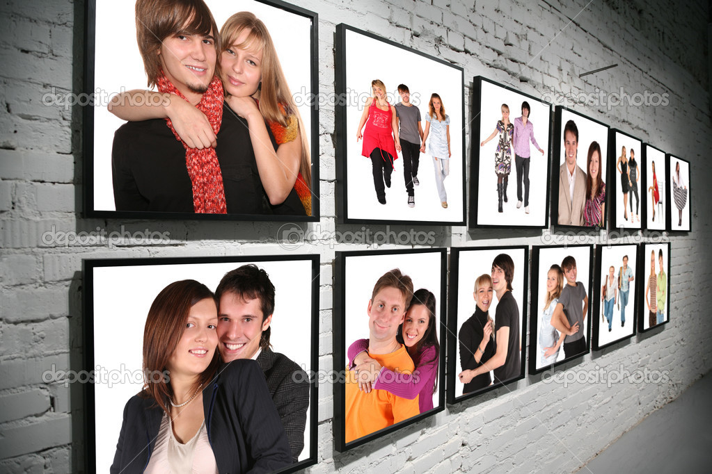 Two rows frames with on brick white wall collage — Stock Photo #7426371