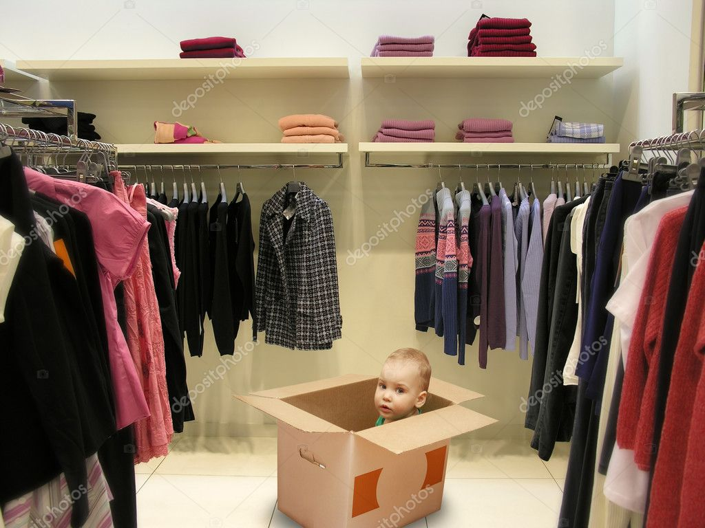 Baby in box in shop collage  Stock Photo #7429931