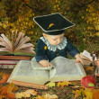 Little boy with many books in autumnal park collage — Stock Photo