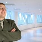muž v brýlích v obchodním centru, koláž — Stock fotografie