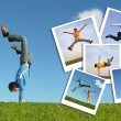 Jumping man in grass and photographs of the , collage — Stock Photo