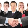 Shaking hands with wrists and five business group collage — Stock Photo