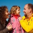 Little girl with mum and daddy — Stock Photo