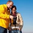 Man and girl photographed — Stock Photo