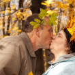 Stock Photo: Old man and old woman in autumnal forest