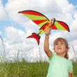 Royalty-Free Stock Photo: Little girl plays kite on meadow