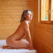 Naked beautiful hot woman sitting on bed in cosy wooden room, lo — Stock Photo #7431251