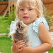 Little girl plays with Guinea pig on meadow — Stock Photo #7431264