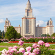 The Moscow State University of a name of Lomonosov. Vertical for — Stock Photo