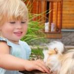 Little girl feeds Guinea pig in courtyard near house — Stock Photo