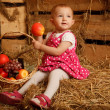 Stock Photo: The little girl on straw with a basket