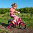The little girl goes for a drive on a pink bicycle in park — Stock Photo #7431690