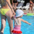 Stock Photo: Beautiful womand little girl going on paddling pool in aquapa