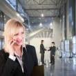 Business woman in hall collage — Stock Photo