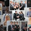 Collection of many business photos with , collage — Stock Photo