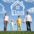 Royalty-Free Stock Photo: Family of four dreams about the house, collage