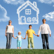 Stock Photo: Family of four dreams about the house, collage
