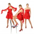 Three young blonde girls in red dress and boa, collage — Stock Photo