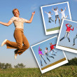 Happy girl jumps on grass and photos of jumpimg girls, collage — Stock Photo