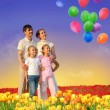 Royalty-Free Stock Photo: Family of four in tulip field and balloons collage
