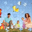 Family of four puzzle collage — Stock Photo