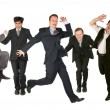 Stock Photo: Many jumping men on the white
