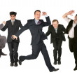 Stock Photo: Many jumping men on white