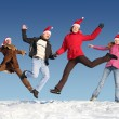 Royalty-Free Stock Photo: Many jumping on snow