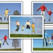 Many photos with jumping families, collage — Stock Photo