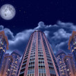 Night buildings on sky and moon, collage — Stock Photo