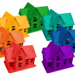 Stock Photo: Model of houses in colors of rainbow, collage