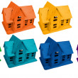 Model of houses in colors of rainbow, collage — Stock Photo
