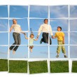 Jumping family on grass, collage — Stock Photo