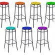Many bar chairs in colors of rainbow, collage — Stock Photo