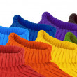 Group of multi color rainbow sweaters collage — Stock Photo #7432693