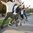 Stock Photo: Group of rollers jump