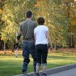 Young roller couple from back — Stock Photo #7433031