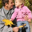 Grandfather with the granddaughter in the park in autumn 3 — Stock Photo