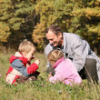 Grandfather with the grandson and granddaughter — Stock Photo