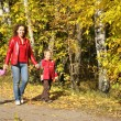 Mother with the children goes for a walk in the park in autumn — Stock Photo #7433164