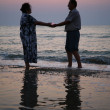 Grandfather with grandmother on sunset at sea — Stock Photo