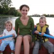 Mother and child in the boat in the lake 2 — Stock Photo #7434004